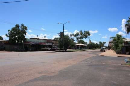 Facing East on Brolga Street - the main street of Quilpie, Queensland. [The Diamantina Developmental Road where it passes through Quilpie.]